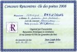 """1er Prix Delteil au Concours Rencontres - Île des Poètes 2008 organisé par l'association """"Rencontres Artistiques et Littéraires"""" (Ste-Geneviève-des-Bois)"""