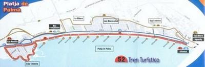 L'iténéraire du train touristique de Platja de Palma
